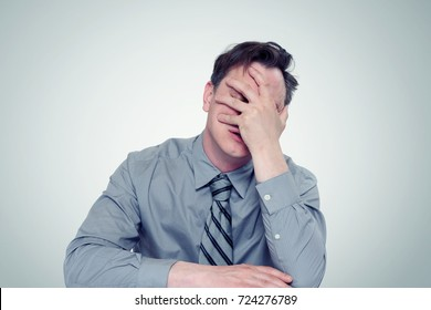What to do? Fear businessman, facepalm concept crisis