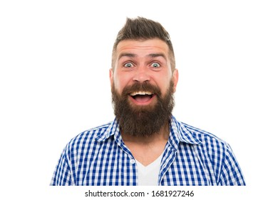 what a great surprise. happy after hairdresser salon. barbershop master. mustache from barber. Mature hipster with beard. trendsetter hipster with mustache isolated on white. mustachioed and bearded.