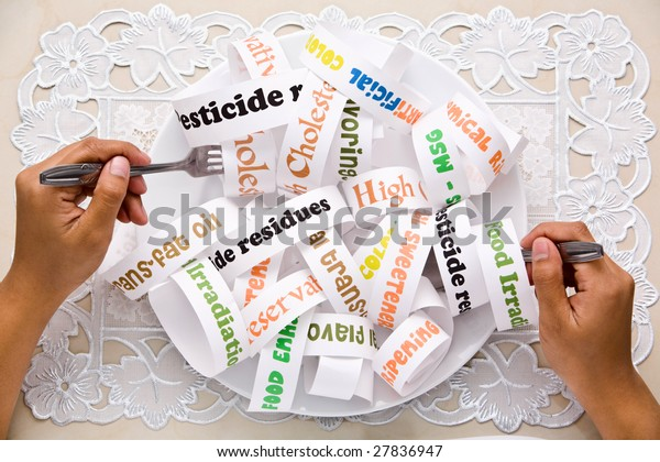 What most people eat daily nowadays using words illustration that printed on the paper and arranged on the plate like that.