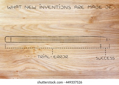 what new inventions are made of: diagram with pencil metaphor, long trial error phase before reaching success