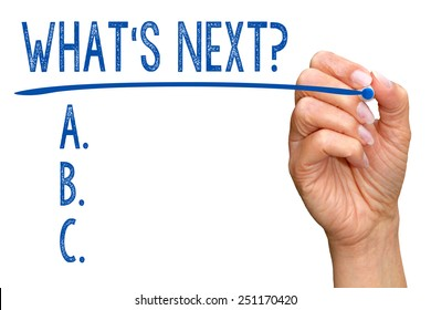 What is next ? Checklist with female hand on white background