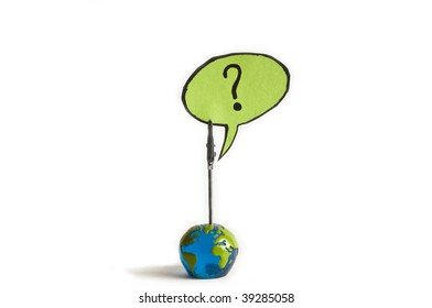 what now ? question mark from a globe
