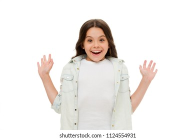 What a surprise. Child surprised smile isolated white background. Kid girl long curly hair surprised happy. Girl curly hairstyle adorable wondering face. Kid happy loves pleasant surprises.