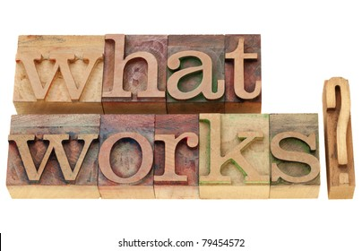 what works -  isolated question in vintage wood letterpress printing blocks
