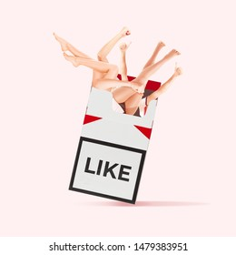 What would you do for likes. Abusing social media. Bad habits. Take a like as a cigarette. Negative space to insert your text. Modern design. Contemporary art collage. Concept of human nature.