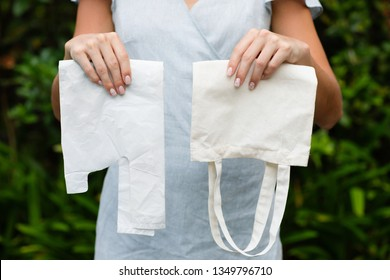 What you choose: plastic bags or multi-use bags. Zero waste and conscious lifestyle concept.