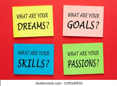 What Are Your Dreams Goals Skills Passions. Set of Motivational Labels.