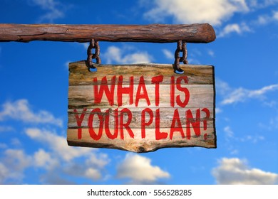 What is your plan? motivational phrase sign on old wood with blurred background