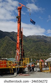 WHATAROA, NEW ZEALAND, DECEMBER 5, 2014: Drillers  on the Deep Fault Drilling Project, Whataroa, New Zealand. Geologists expect to gain knowledge of earthquakes from core samples of the Alpine Fault.