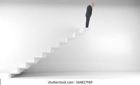 What's the next step concept man at top of staircase