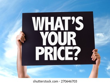 Whats Your Price? card with sky background