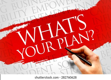 What's Your Plan word cloud, business concept