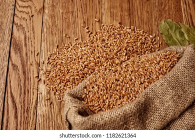wheat in a bag and on a wooden table dry leaves