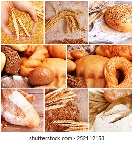 Wheat and bread collage