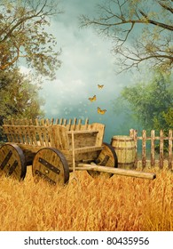 Wheat field with an old wooden cart