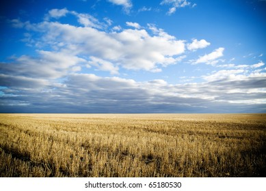 Wheat fields in rural Australia after harvest.