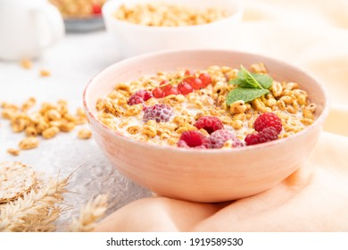 Wheat flakes porridge with milk, raspberry and currant in ceramic bowl on gray concrete background and orange linen textile. Side view, close up, selective focus.