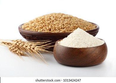 Wheat flour Bunch of wheat ears, dried grains in wooden bowl, flour in wooden bowl    on white background. Cereals harvesting, bakery products
