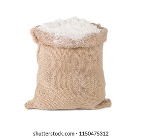 Wheat flour in burlap sack bag isolated on white background