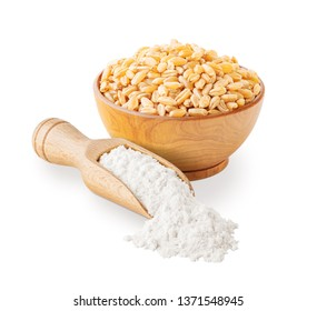 Wheat flour and grains isolated on white background