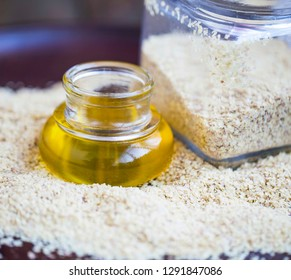 Wheat germ oil , closeup of wheat germ oil transparent bottle with wheat germ jar. healthy food ingredient
