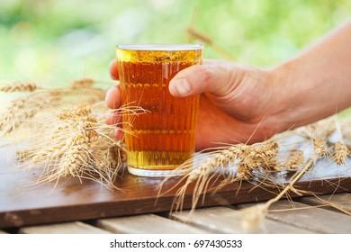 Wheat. Glass Beer. Summer. Outdoor.