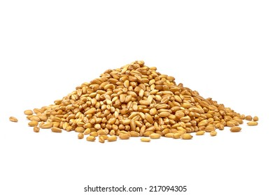 Wheat heap or pile side view isolated on white background