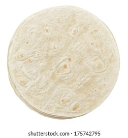 wheat round tortillas from above, isolated on white background