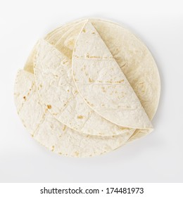 wheat round tortillas, from aboveon white background