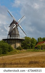 Wheat and windmill. Denmark, Europe