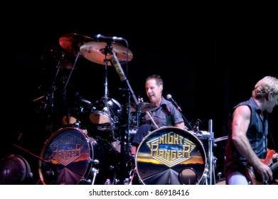 WHEATLAND, CA - OCT 15: Kelly Keagy of Night Ranger performs as part of Journey's Eclipse Tour at Sleep Train Amphitheater on October 15, 2011 in  Wheatland, California.
