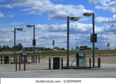WHEATLAND, WYOMING - OCTOBER 1: Gas station pumps off Interstate 25 on October 1, 2009 in Wheatland, Wyoming. Wheatland is the county seat of Platte County in southeastern Wyoming.