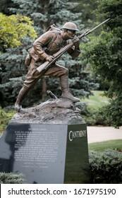 Wheaton, Illinois/USA 6-24-2015. Close up of bronze WWI doughboy statue holding Springfield M1903