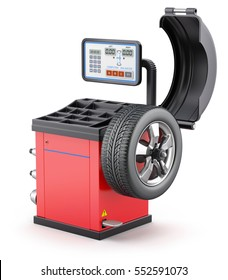 Wheel balancing machine on white background - 3D illustration