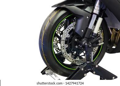 Wheel of big motorcycle Isolated on white background.