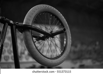 Wheel of BMX bike. Extreme sport concept with black and white colours