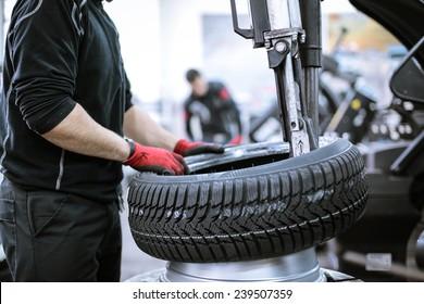 The wheel of a car