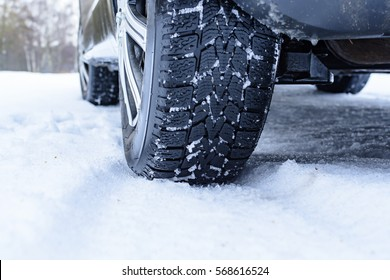 Wheel of a car in the snow