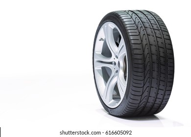Wheel car, Car tire, Aluminum wheels isolated on white background.