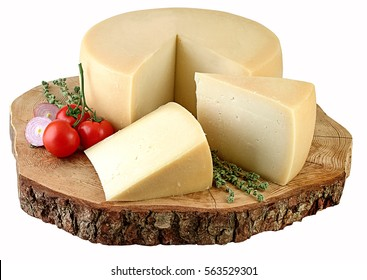 Wheel cheese on natural wooden board,clipping path