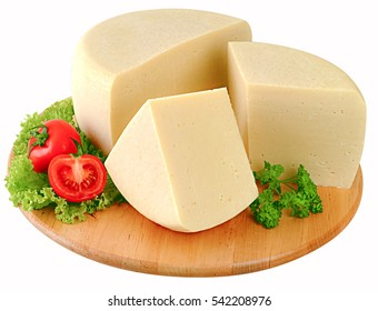 Wheel cheese on wooden board,clipping path,