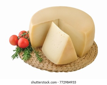 Wheel cheese and one piece on wickered board.Clipping path.