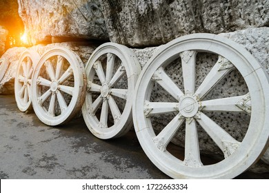 The wheel of Dhamma or the law .Buddha symbol is wheels of life with sunlight background is light of doctrine.