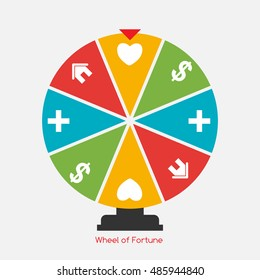 Wheel of Fortune, Lucky Icon with Money, Health, Home and Love Sign.  Illustration