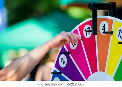 Wheel of fortune turning on a children's festival