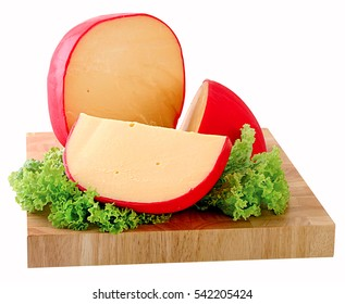 Wheel of Gouda cheese with a wedge cut out,clipping path,