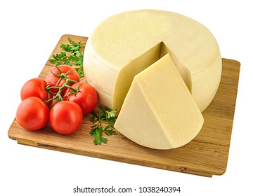 Wheel of hard cheese and a large piece  on wooden board. Clipping path.