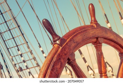 Wheel or helm on an old ship.