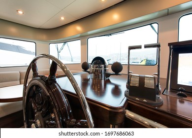 Wheel house of a classi yacht