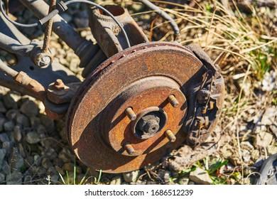 wheel hub on disassembled car. - Shutterstock ID 1686512239
